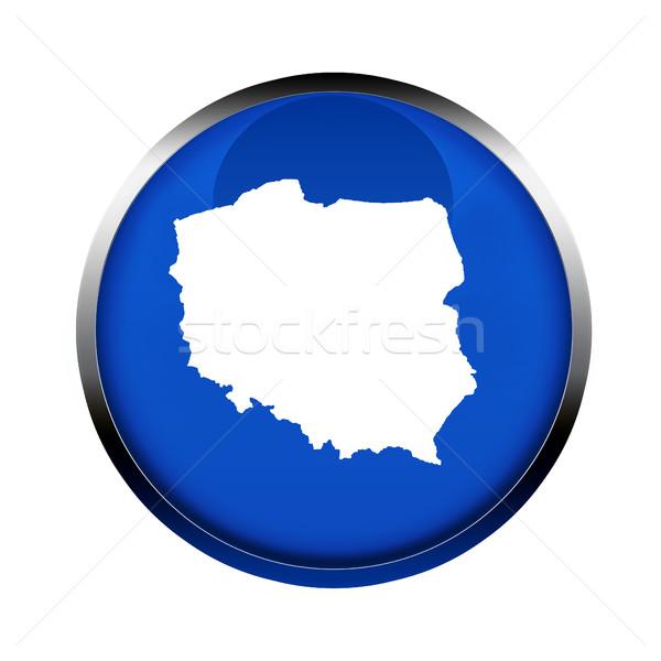 Polônia mapa botão cores europeu união Foto stock © speedfighter