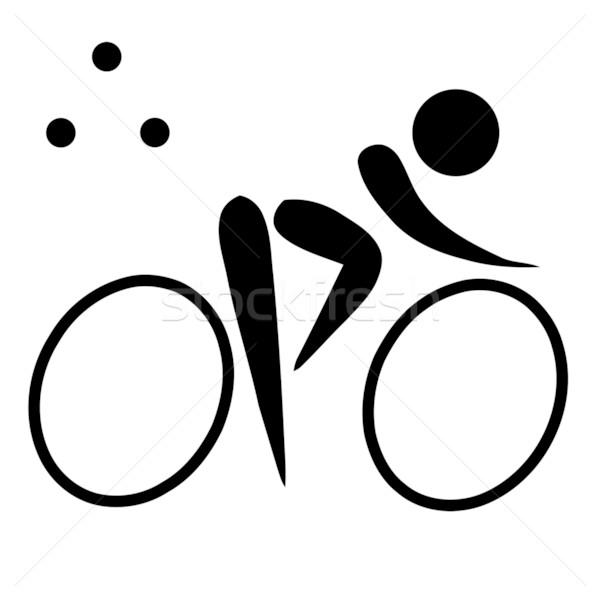 Triathlon assinar símbolo preto isolado branco Foto stock © speedfighter