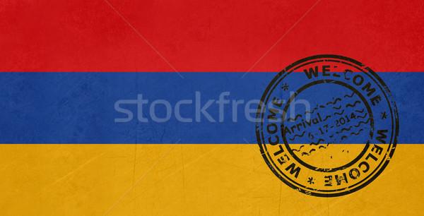 Foto stock: Bem-vindo · Armênia · bandeira · passaporte · carimbo · viajar