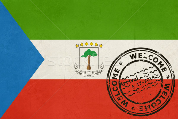 Welcome to Equatorial Guinea flag with passport stamp Stock photo © speedfighter
