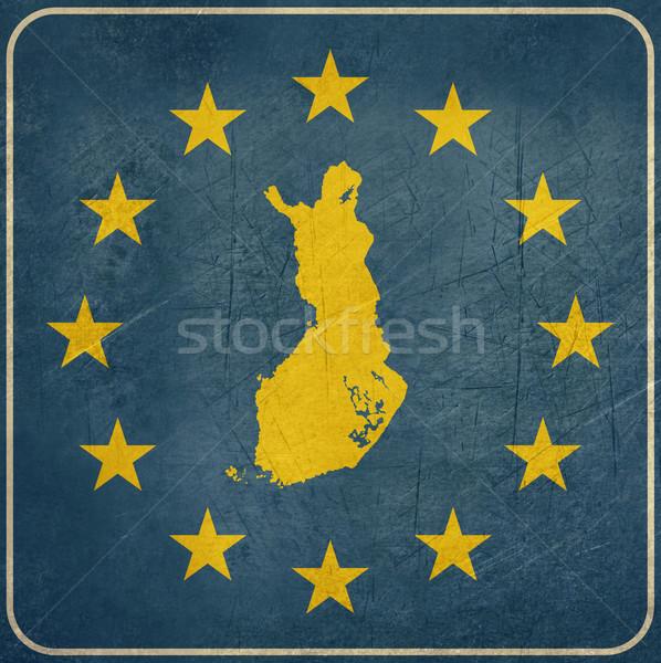 Grunge Finnország európai gomb térkép kék Stock fotó © speedfighter