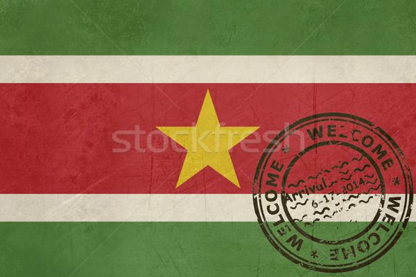 приветствую Суринам флаг паспорта штампа путешествия Сток-фото © speedfighter