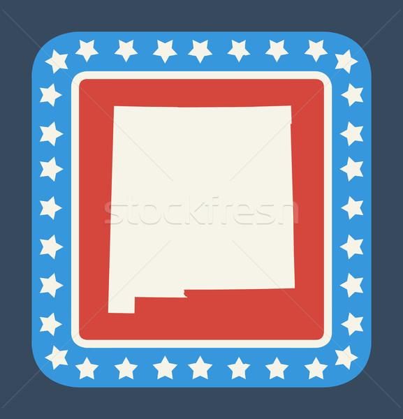 New Mexico düğme amerikan bayrağı web tasarım stil yalıtılmış Stok fotoğraf © speedfighter