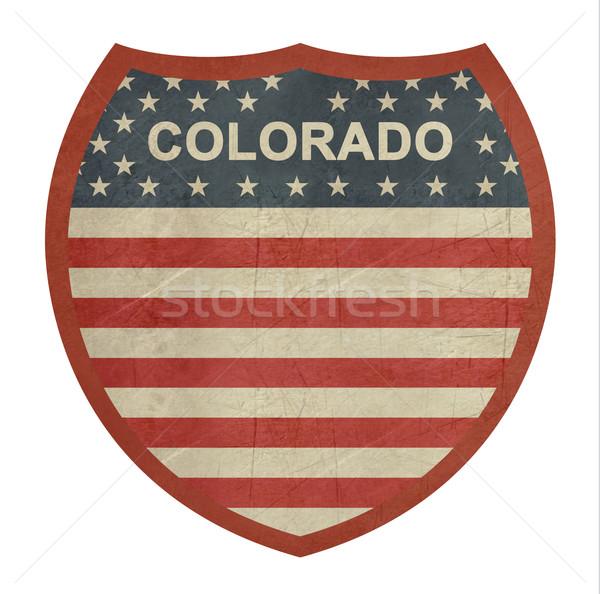 Grunge Colorado zwischenstaatlichen Autobahn Zeichen isoliert Stock foto © speedfighter