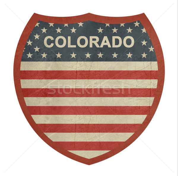 Grunge Colorado americano interestadual sinal da estrada isolado Foto stock © speedfighter