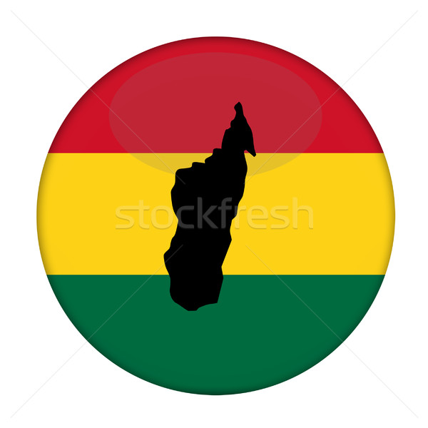Madagascar map on a Rastafarian flag button Stock photo © speedfighter