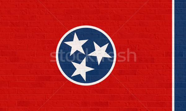 テネシー州 フラグ レンガの壁 アメリカ 孤立した 白 ストックフォト © speedfighter