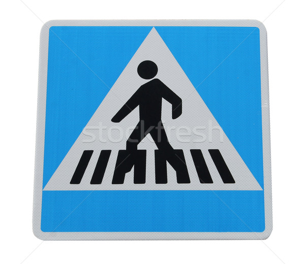 Stockfoto: Voetganger · teken · geïsoleerd · witte · Blauw · snelweg