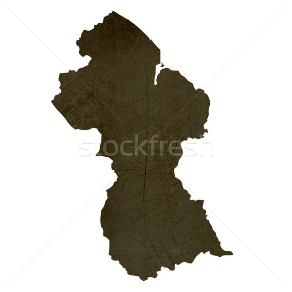Dark silhouetted map of Guyana Stock photo © speedfighter