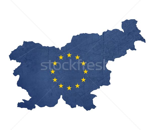 Európai zászló térkép Szlovénia izolált fehér Stock fotó © speedfighter