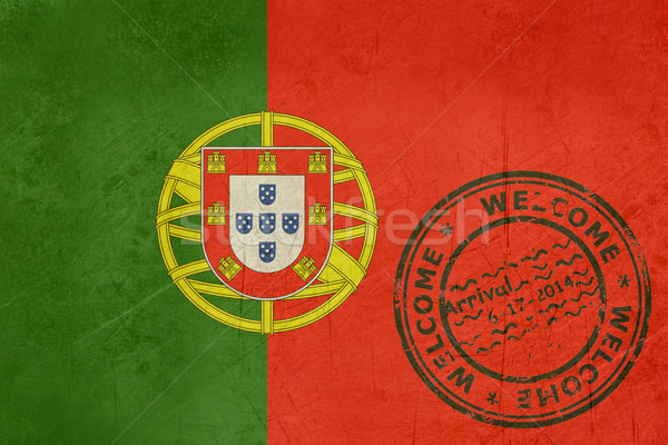 Welcome to Portugal flag with passport stamp Stock photo © speedfighter