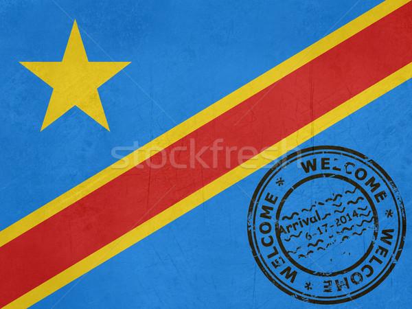 Bienvenida democrático Congo bandera pasaporte sello Foto stock © speedfighter