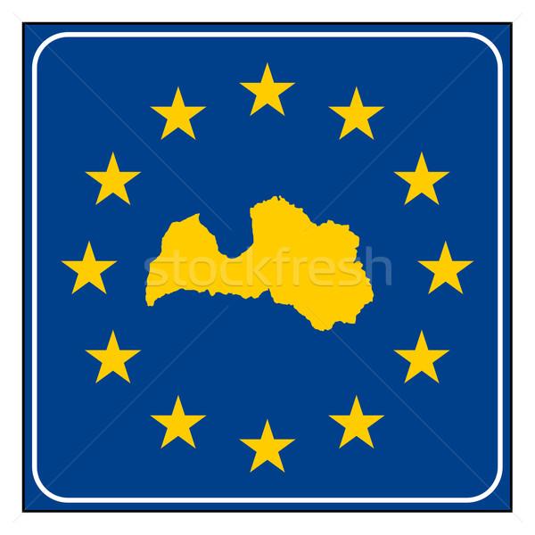 Letland europese knop kaart Blauw Stockfoto © speedfighter