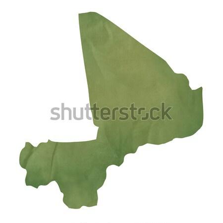 старые зеленый бумаги карта Мали изолированный Сток-фото © speedfighter