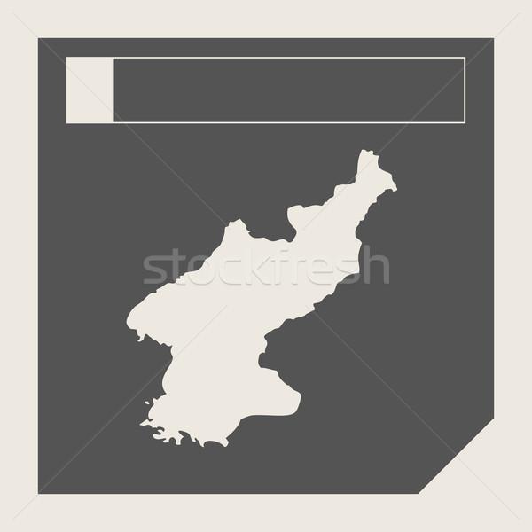 North Korea map button Stock photo © speedfighter