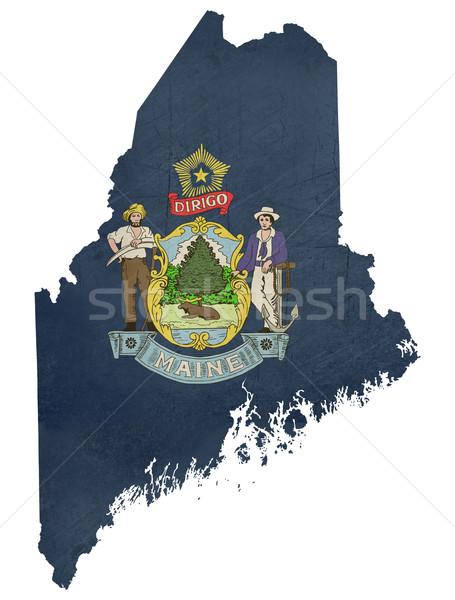 Grunge Maine vlag kaart geïsoleerd witte Stockfoto © speedfighter