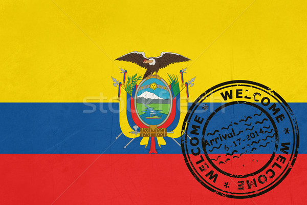 Welcome to Ecuador flag with passport stamp Stock photo © speedfighter