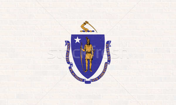 Massachusetts zászló téglafal Amerika izolált fehér Stock fotó © speedfighter