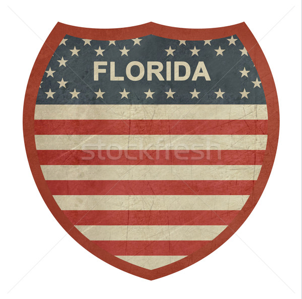 Grunge Florida zwischenstaatlichen Autobahn Zeichen isoliert Stock foto © speedfighter
