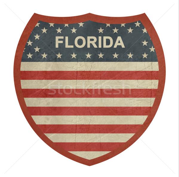 Grunge Flórida americano interestadual sinal da estrada isolado Foto stock © speedfighter