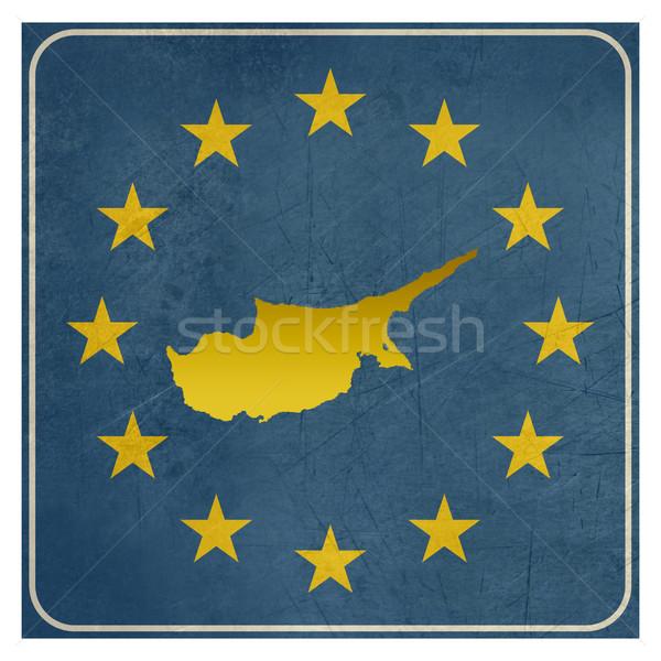 Stock fotó: Ciprus · európai · felirat · izolált · fehér · copy · space
