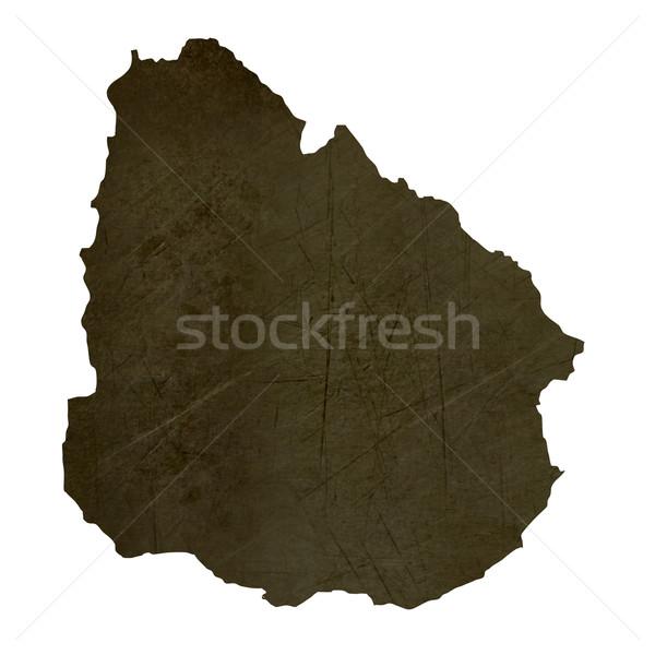 Dark silhouetted map of Uruguay Stock photo © speedfighter