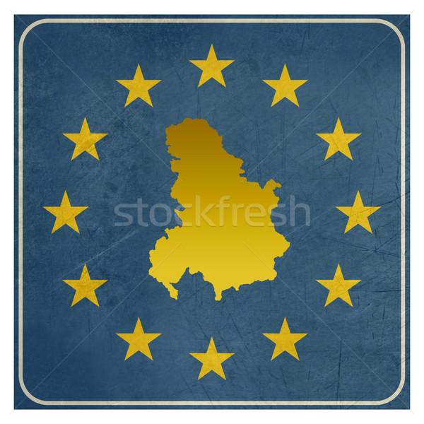Serbie Monténégro européenne signe isolé blanche Photo stock © speedfighter