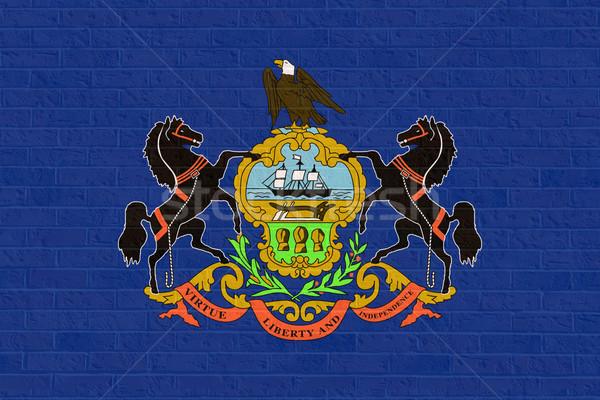 Pensilvania bandera pared de ladrillo América aislado blanco Foto stock © speedfighter