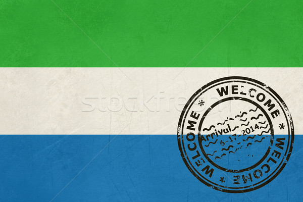 Welcome to Sierra Leone flag with passport stamp Stock photo © speedfighter