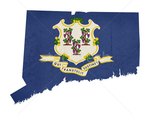 Grunge Connecticut bandeira mapa isolado branco Foto stock © speedfighter