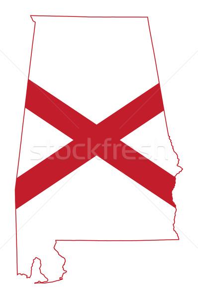 Alabama zászló térkép izolált fehér USA Stock fotó © speedfighter