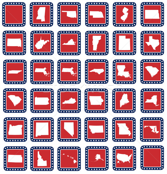 Set of American state map buttons Stock photo © speedfighter