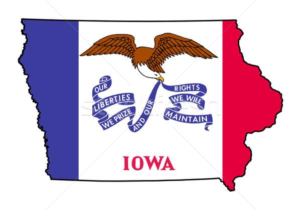 Айова Гранж флаг карта изолированный белый Сток-фото © speedfighter