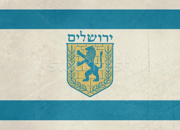 Гранж Иерусалим флаг город Израиль официальный Сток-фото © speedfighter