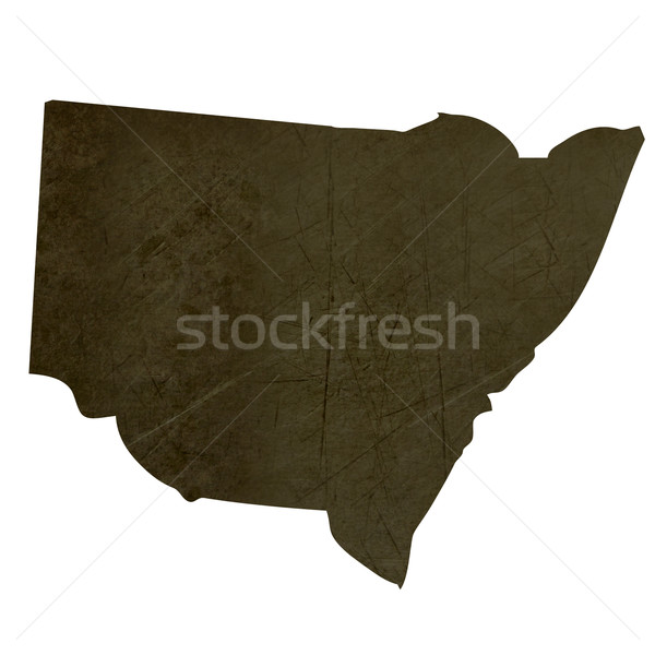Dark silhouetted map of New South Wales Stock photo © speedfighter