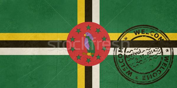 приветствую Доминика флаг паспорта штампа путешествия Сток-фото © speedfighter