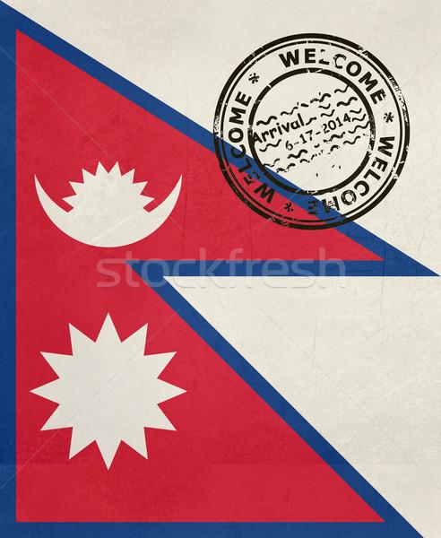 Karşılama Nepal bayrak pasaport damga seyahat Stok fotoğraf © speedfighter