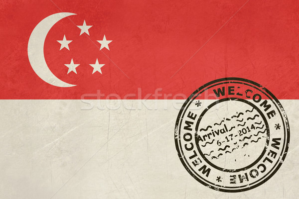 Welcome to Singapore flag with passport stamp Stock photo © speedfighter