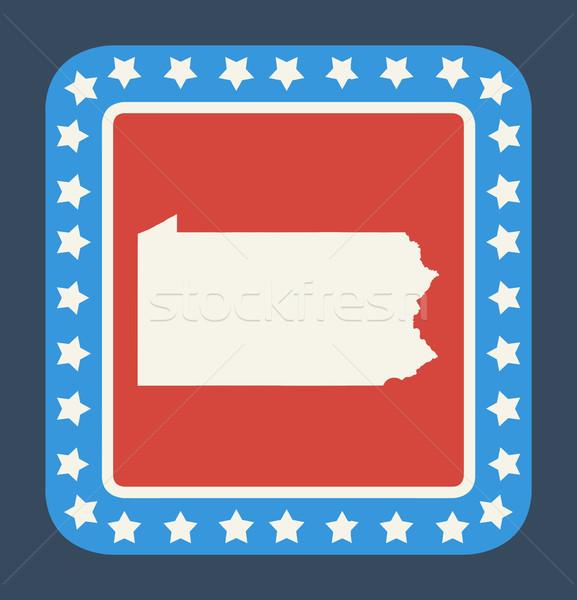 Pennsylvania pulsante bandiera americana web design stile isolato Foto d'archivio © speedfighter