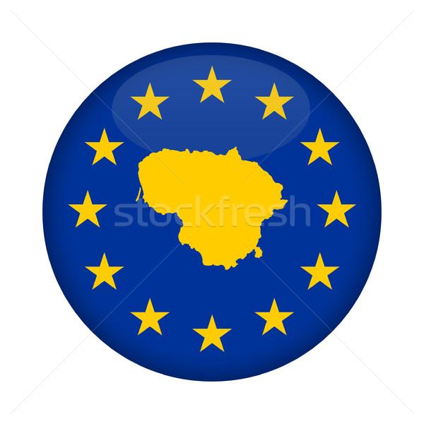 Litvánia térkép európai szövetség zászló gomb Stock fotó © speedfighter