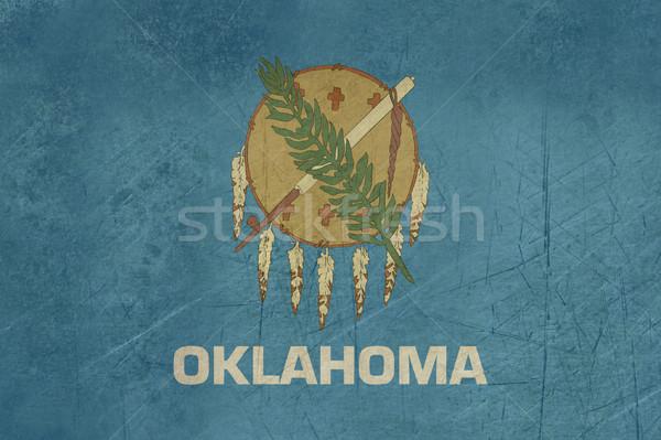 Foto stock: Grunge · Oklahoma · bandeira · américa · isolado · branco
