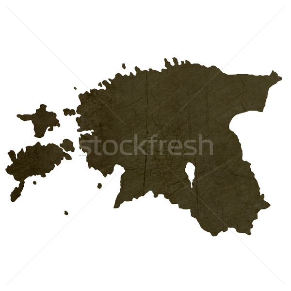 Dark silhouetted map of Estonia Stock photo © speedfighter