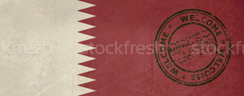Welcome to Qatar flag with passport stamp Stock photo © speedfighter