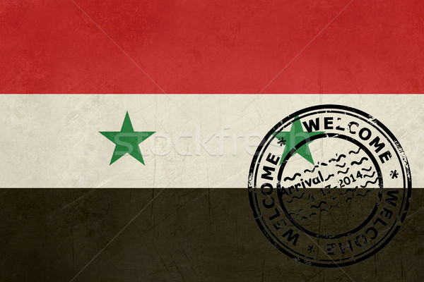 Welcome to Syria flag with passport stamp Stock photo © speedfighter