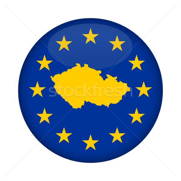 Csehország térkép európai szövetség zászló gomb Stock fotó © speedfighter