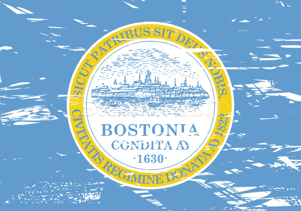 Бостон город флаг США Гранж эффект Сток-фото © speedfighter