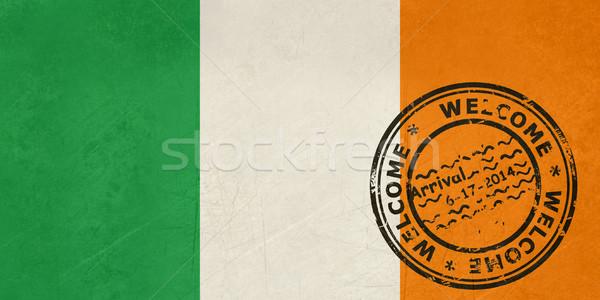 üdvözlet Írország zászló útlevél bélyeg utazás Stock fotó © speedfighter