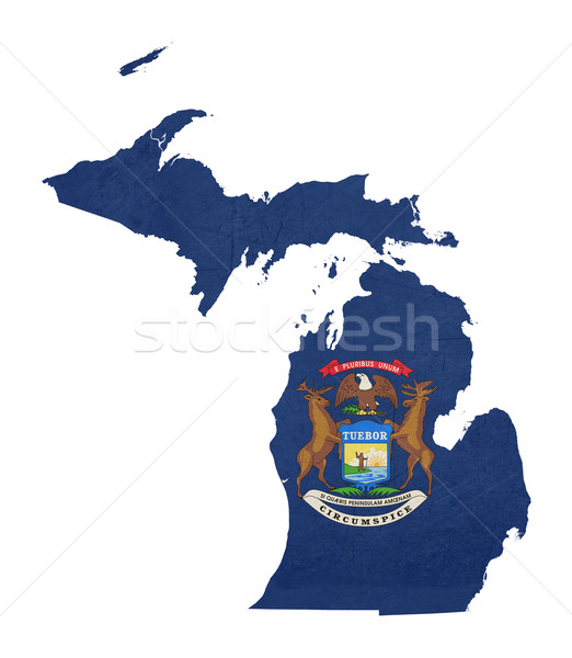 Grunge Michigan vlag kaart geïsoleerd witte Stockfoto © speedfighter