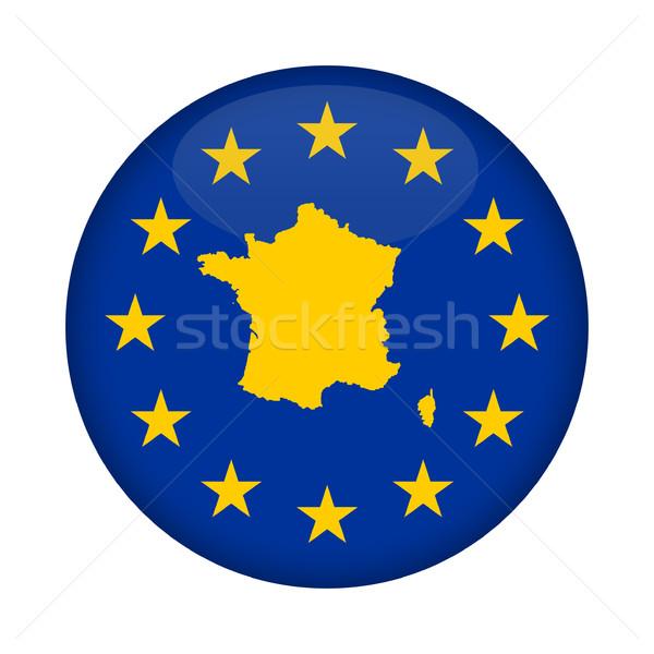 France map European Union flag button Stock photo © speedfighter