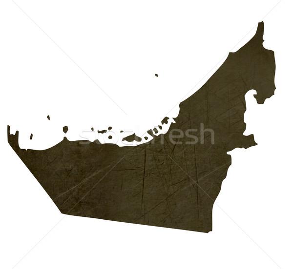 Dark silhouetted map of United Arab Emirates Stock photo © speedfighter